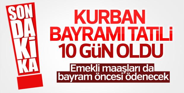 """Kurban Bayramı Tatili """"10 Gün"""""""
