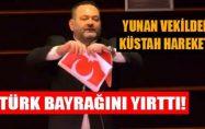Yunan Vekil,Avrupa Parlamentosunda Türk Bayrağını Yırttı