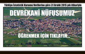 TÜİK Verilerine göre 31 Aralık 2015 yılı itibariyle Devrekani nüfusumuz